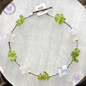Peridot & Opalite Silver Bracelet